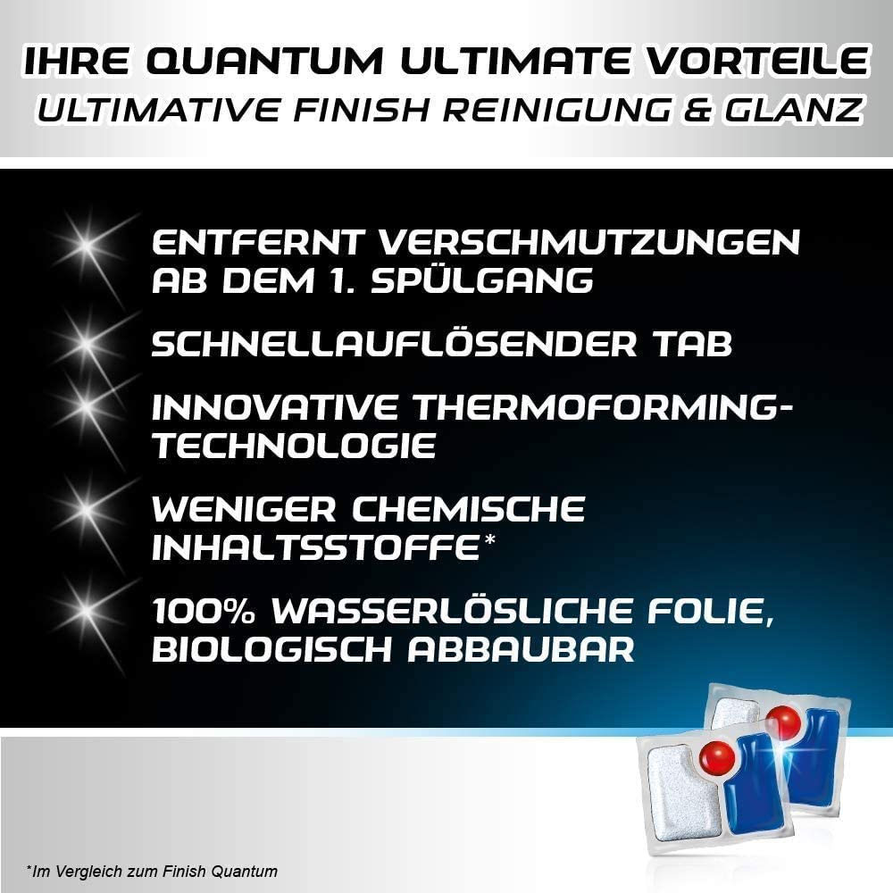 Viên Rửa Bát, Chén Finish Quantum Ultimate 51 Viên - Cấp Độ Tinh Khiết Và Rạng Rỡ