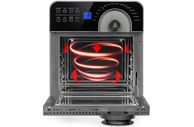 Nổi Bật Ở Nồi Chiên Không Dầu Klarstein 14L Aerovital Cube Chef Hot Air Fryer Là Công Nghệ Duoheating