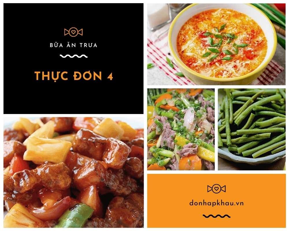 Thực Đơn Bữa Trưa Số 4 - Các Món Ăn Ngon, Đầy Đủ Dưỡng Chất