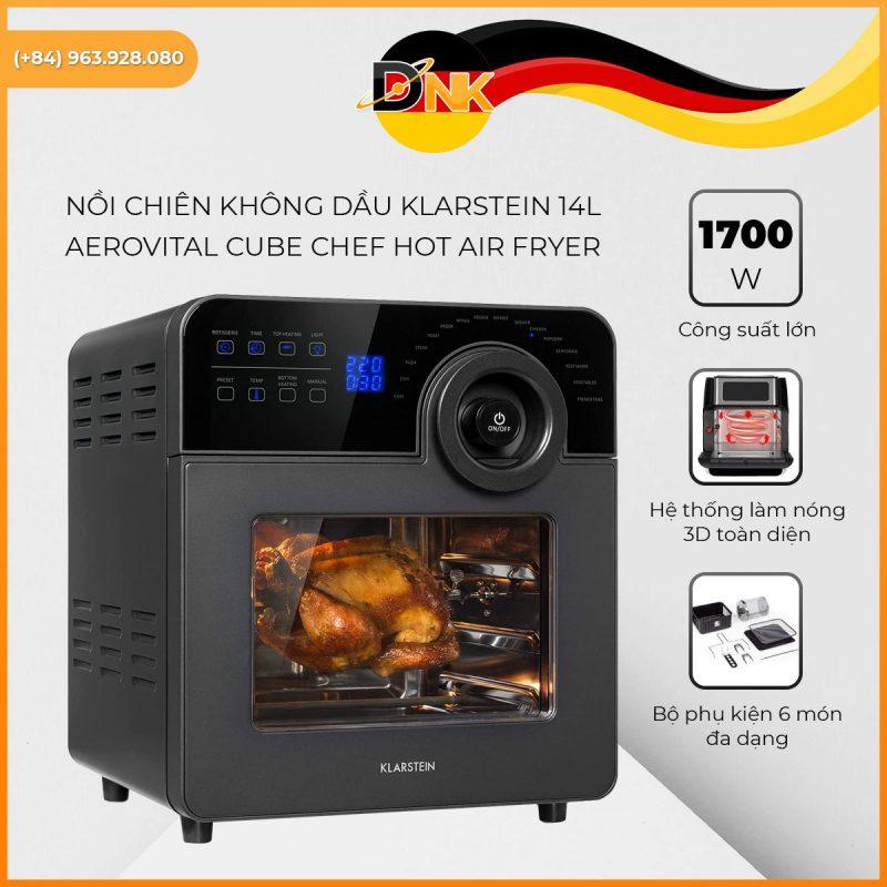 Đặc Điểm Nổi Bật Nồi Chiên Không Dầu Klarstein 14L Aerovital Cube Chef Hot Air Fryer