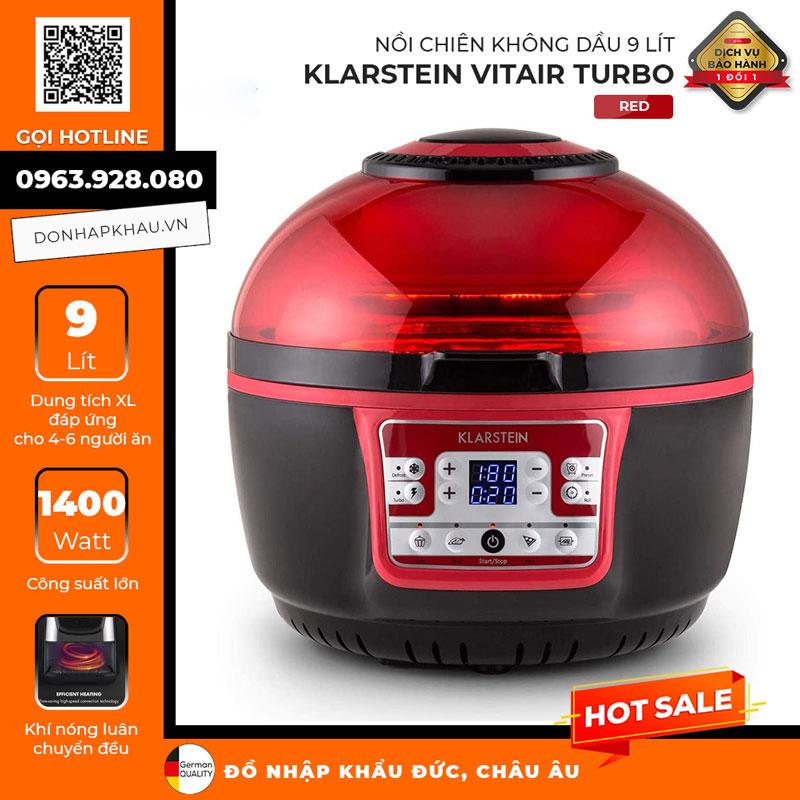 Nồi Chiên Không Dầu Klarstein Vitair Turbo 9L Hot Air Fryer, Red, 1400W, Hình Ảnh 1