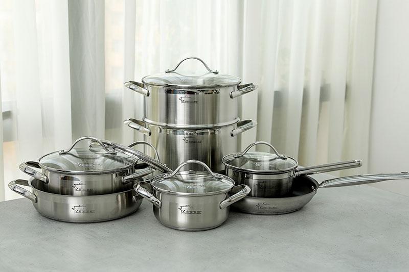 Bộ Nồi Chảo Inox Zemcook S7S Cao Cấp 7 Món - Phù Hợp Nấu Trên Tất Các Các Loại Bếp