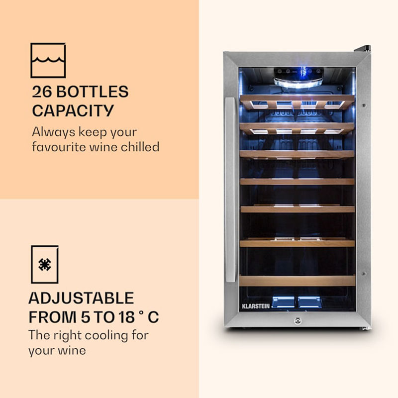 Tủ Bảo Quản Rượu Vang Klarstein Vivo Vino 26 Chai - Hình 4