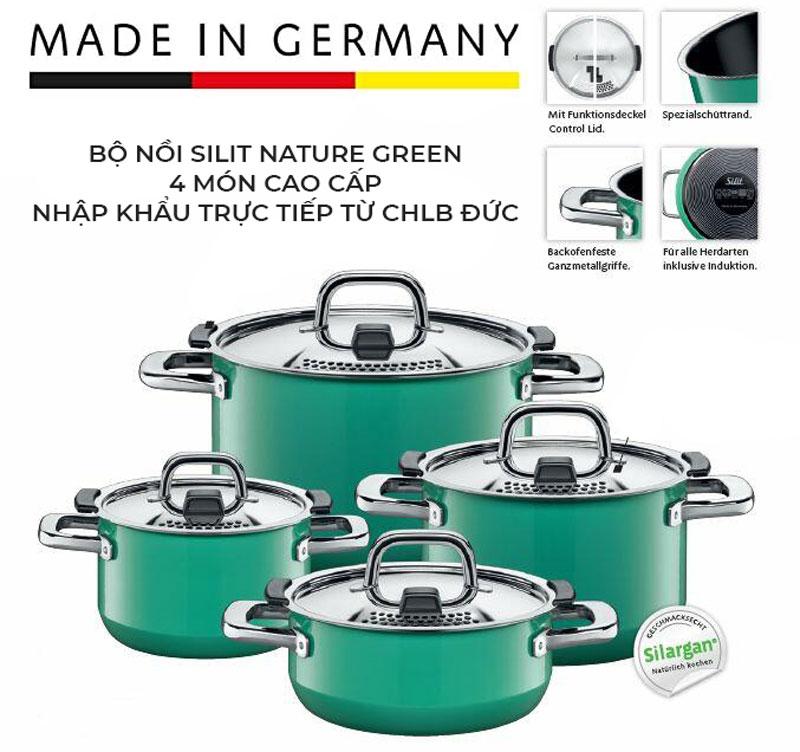 Bộ Nồi Silit 21.0929.9295 Nature Green Kochtopf-Set, 4 Món Cao Cấp, Hình Anh 1